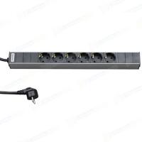 """аксессуары Hyperline SHT19-6SH-2.5EU Блок розеток для 19"""" шкафов, горизонтальный, 6 универсальных розеток, 16A, шнур 2.5м"""
