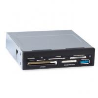 "Картридер (All-in-1) USB 3.0 internal 3.5"" Black + USB 3.0 port, Ginzzu OEM (GR-166UB)"