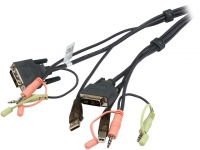 Переключатель ATEN 2L-7D02UI Шнур, мон+клав+мышь USB + аудио, DVI-I Single Link+USB A-Тип +2xRCA=)DVI-I Single Link+USB B-Тип + 2xRCA, Male-Male, опрессованный,   1.8 метр., черный,