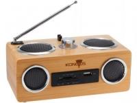 Акустическая система Konoos KBS-01, натуральный бамбук, FM-радио ,считыватель SD, USB- карт, встр. аккумулятор
