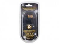 Кабель USB 2.0 AM/BM 3м Konoos, проф., черный, зол. разъемы., феррит. кольца
