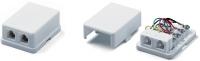 Розетки Hyperline SB-2-6P4C-C2-WH Розетка телефонная RJ-12(6P4C), двойная, внешняя, белая