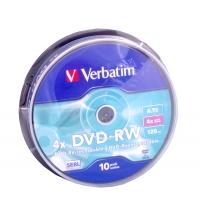 Диск DVD-RW Verbatim 4.7Gb 4x Cake Box (10шт) 43552