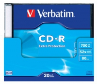 Диск CD-R Verbatim 700Mb 52x DataLife+ Slim Case Printable (20шт) 43424