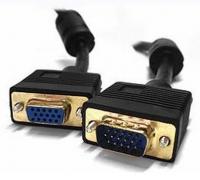 Кабель Кабель удлинитель VGA Konoos KC-PPVGAX-1.8, 15M/15F, 1.8м, черный, тройной экран, позол.разъемы