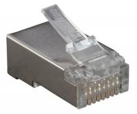 """Разъемы Hyperline PLUG-8P8C-U-C6-SH Разъем RJ-45(8P8C) под витую пару, категория 6 (50 µ""""/ 50 микродюймов), экранированный, универсальный (для одножильного и многожильного кабеля)"""