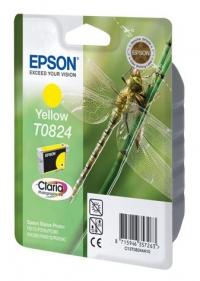 Картридж струйный Epson C13T11244A10 T0824 желтый R270/290/RX590 (замена С13T08244A)