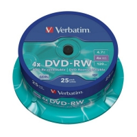 Диск DVD-RW Verbatim 4,7Gb 4x Cake Box (25шт) 43639