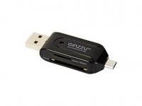 Картридер USB 2.0 Ginzzu GR-585UB (AII in 1), Black (OTG / PC картридер / DATA кабель USB - микроUSB)