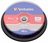 Диск BD-RE Verbatim 25Gb 2x Cake Box (10шт) 43694
