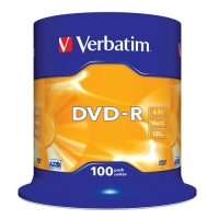 Диск DVD-R Verbatim 4,7Gb 16x Cake Box (100шт) 43549