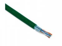 Кабель Hyperline UTP4-C5E-SOLID-GN-305 Кабель витая пара UTP (U/UTP), категория 5e, 4 пары (24 AWG), одножильный (solid), зеленый, PVC (305 м)