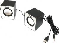 Колонки Dialog Colibri AC-02UP BLACK-WHITE - 2.0, 6W RMS, черно-белые, питание от USB