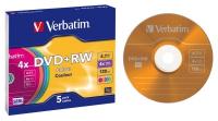 Диск DVD+RW Verbatim 4,7Gb 4x Slim Case Color (5шт) 43297