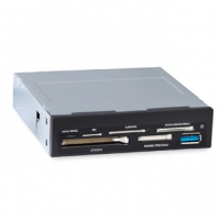 "Картридер (All-in-1) USB 3.0 internal 3.5"" Black + USB 3.0 port, Ginzzu OEM (GR-166UB)"