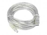 Кабель USB 2.0 AM/BM 3m Telecom прозрачная изоляция (VUS6900T-3MTP) 6937510854738