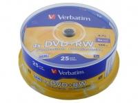 Диск DVD+RW Verbatim 4.7Gb 4x Cake Box (25шт) 43489