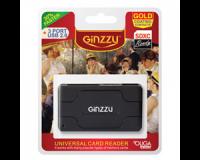 Картридер <AII in 1> USB 2.0 Ginzzu GR-417UB + HUB 3 port, Black