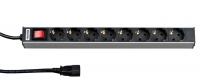 """аксессуары Hyperline SHT19-8SH-S-2.5EU Блок розеток для 19"""" шкафов, горизонтальный, 8 универсальных розеток, 16A, выключатель, шнур 2.5м"""
