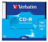 Диск CD-R Verbatim 700Mb 52x DataLife+ Slim Case Printable (20шт) 43424