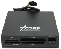 Устройство чтения карт памяти Acorp CRIP200-B USB2.0 (all-in-1, + USB port) Internal black