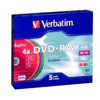 Диск DVD-RW Verbatim 4.7Gb 4x Slim Color (5шт) 43563