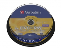 Диск DVD+RW Verbatim 4.7Gb 4x Cake Box (10шт) 43488