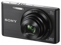 "PhotoCamera Sony Cyber-shot DSC-W830 black 20.4Mpix Zoom8x 2.7"" 720p 27Mb SDHC MS Pro Duo Super HAD CCD IS el NP-FH50"